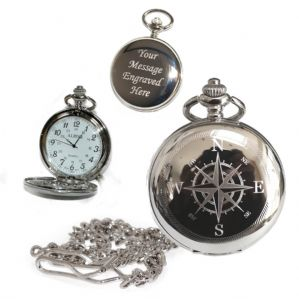 Compass Pocket Watch Arabic Numerals Quartz